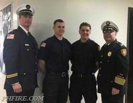 From L to R: Battalion Chief Mark Oeltgen, Firefighter Mike Lynch, Firefighter Dan Lezska, Fire Chief Drew Smith