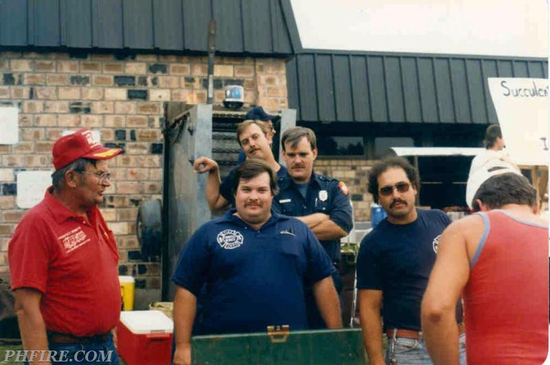 Ron (left) at PH Summerfest corn booth in 1980s