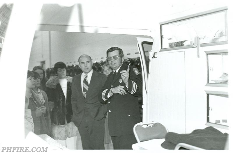 Ron providing tour of PHFD's first ambulance