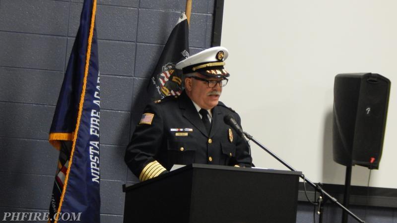 Fire Chief Drew Smith addresses the graduationg class