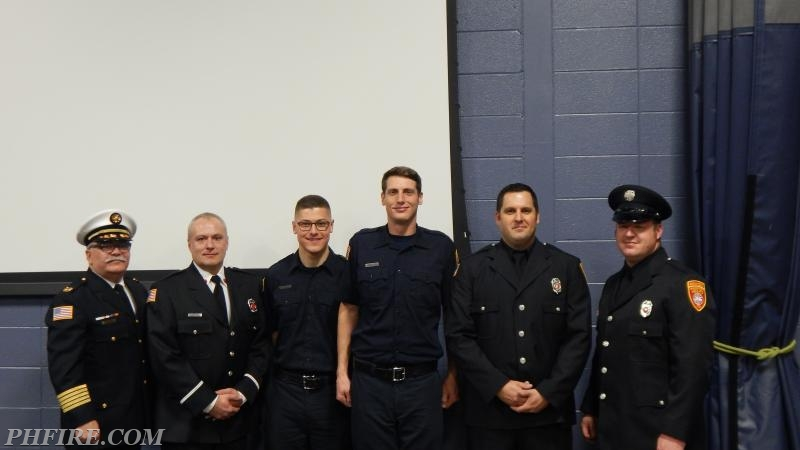 Chief Smith, Lt Plonski, Cadet Loverher, Cadet Dyer, FF Gray and FF Rill after the ceremony