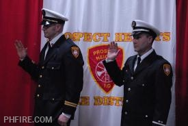 BC Cossman (left) and LT Hedman taking oath of office