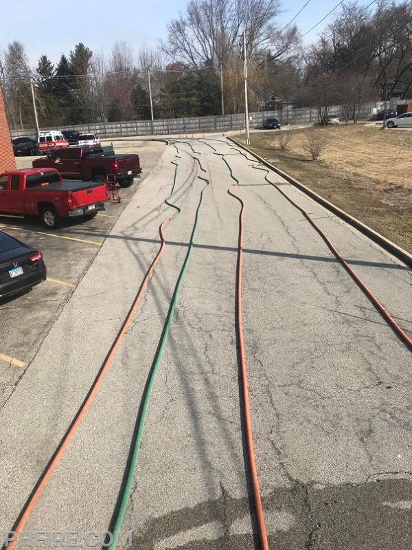 Each hose is laid out and pressurized to test for leaks.
