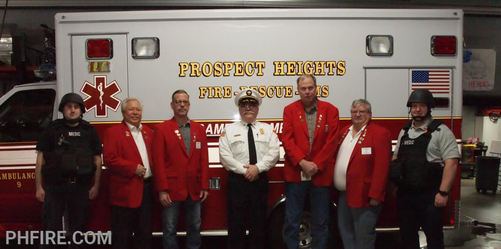 Seen in photo from left to right is FF/PM Nick Fuderer,   Ron Nishimoto (Trustee), Mike Hozian (Exlated Ruler), Fire Chief Drew Smith, Jim Feth (Leading Knight), KC Furgeson (Secretary), LT Markus Rill