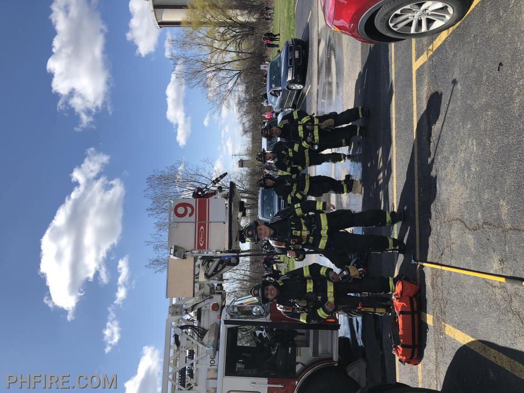 PHFD firefighters prepared to work at the April 16 factory fire in Wheeling