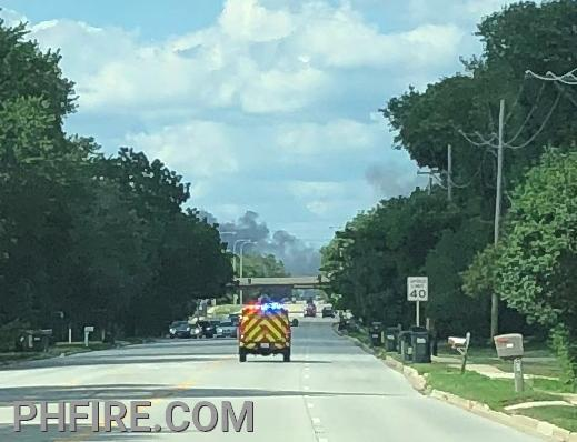 Immediately after leaving the Camp McDonald Road firehouse smoke could be seen more than three miles away.