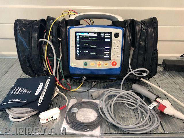 The Zoll X Series heart monitor defibrillator (also monitors oxygen levels, breathing, and blood pressure). Paramedics also can obtain a full electrocardiogram that can diagnose a heart attack before arriving at the hospital Cost with all accessories: $45,000