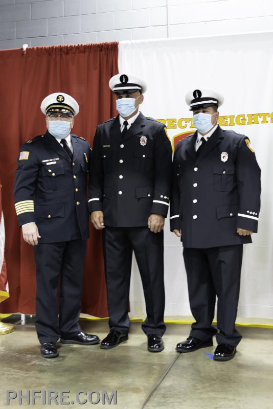 Chief Smith and new lieutenants Gorecki (L) and Roma (R)