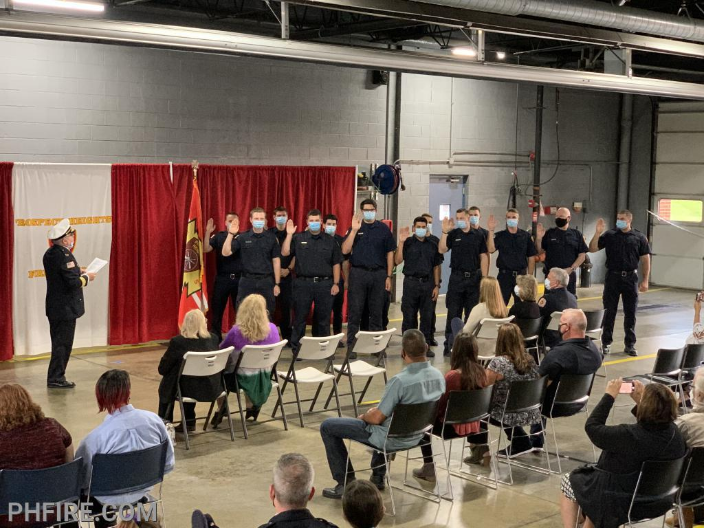 Chief Smith administering the Oath to the 14 new firefighters