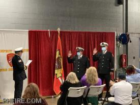 Chief Smith administering the Oath to Lieutenant Roma (L) and Lieutenant Gorecki (R)