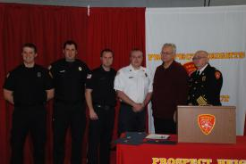 From right, Paramedics  Robert Beckman, Matthew Gray, Kevin Hedman, Lt. Andrew Plonski, Dale Nelson and Fire Chief Don Gould. Not shown, Lt. Steve Dorsey